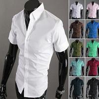 The new 2014 summer fashion boutique man short sleeve shirt / Men's dress leisure pure color lapel shirt ,STS02