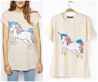 New Fashion 2014 spring/summer Cotton T-Shirts Long Women Cartoon Unicorn Printed Loose Tee Shirts Short Sleeve Free Shipping
