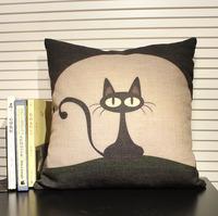 45cm*45cm Cotton Linen Cartoon Black Cat Decorative Pillow Cushion Cover Pillow Case for Kid , Adult