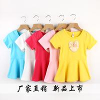 2014 New Summer Kids/Children Girls Appliques Cotton Short Sleeve Mini Short Dresses,Child Clothing 2760  1lot=5 sizes /color
