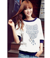 Women Animal O-neck Vintage loose t shirts Women white owl print tops 5 half sleeve tops 2013 fashion free shipping BLL 823