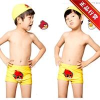 Child swimwear male child boy nylon spandex hot spring cartoon yellow male swimming trunks swimwear