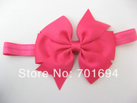 baby beautiful girls hairbows hair bows attached headbands many colors 100 pieces/ lot