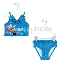Retail baby cartoon Frozen girls bikini set swimsuit girls swimwear bikini 2pcs kids beach wears