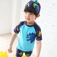 Hot-selling baby cartoon sunscreen split swimsuit swim trunks male child swimming equipment short-sleeve set
