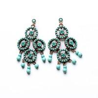 Min Order $15 (Can Mix Item )  Vintage bohemian luxury created blue crystal diamonds drop earring