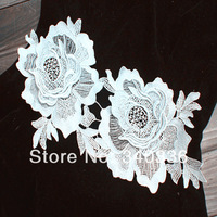 Handmade sewing accessories water soluble fabric Large paste flowers motif applique patch double layer