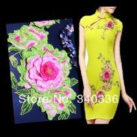 1set Diy handmade accessories 3D cotton embroidery flowers peony motif applique patch for wedding dress decoration