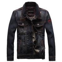 2014 Spring Autumn Men Slim Outerwear Coat Casual Motorcycle Dark Blue Denim jackets Short Washed Jeans  Plus Size XXXL