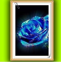 Free shipping DIY Diamond Painting Blue Glitter Rose Rhinestone Cross Stitch Kits Diamond Embroidery Needlework Set