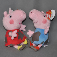 "Free Shipping 2 PCS Cute Peppa Pig Plush Doll Stuffed Toy DIRTY PEPPA GEORGE 7"" (18CM)"