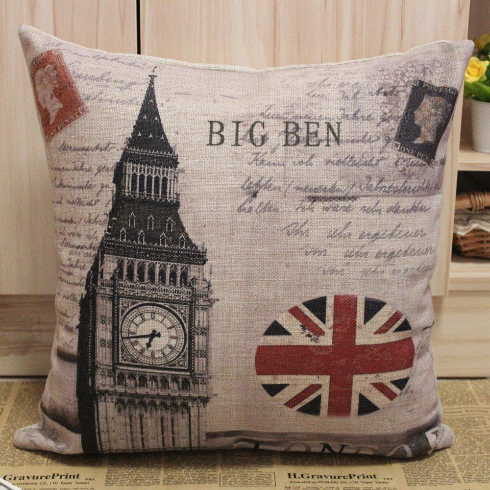 London Union Jack Big Ben Cotton Linen Sofa Couch Chair Throw Pillow Cover Cushion Case Pillowcase 45CMx45CM Room Decorative(China (Mainland))