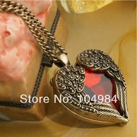 Mixed order $15 At least New Airrival Fashion Vintage lovely Style Wings Red Crystal Heart Charm Necklace N14