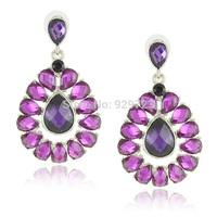 Free Shipping Wholesale Purple Green Coffee Crystal Earrings Big Drop Earrings for Women 2014 Water Drop Earrings
