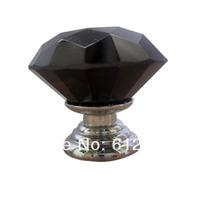 10pcs Aluminum alloy  Diamond glass crystal sparkle cabinet drawer door pulls knobs handle Color Black
