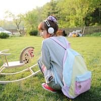 Female bags girls' 2014 PU backpack sweet color block student school bag backpack pink blue travel bag, freeshipping