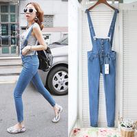 Free shipping Summer Strap jeans pants multi-button all-match pencil pants skinny jeans bib pants Women 7001