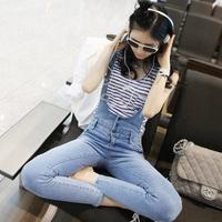 Free shipping 2014 Women's jeans hole stovepipe pencil pants skinny pants bib pants Plus size elastic slim jeans 1505