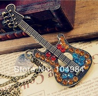 Hot Selling Free Shipping Multicolor Rhinestone Guitar Pendant Necklace N17