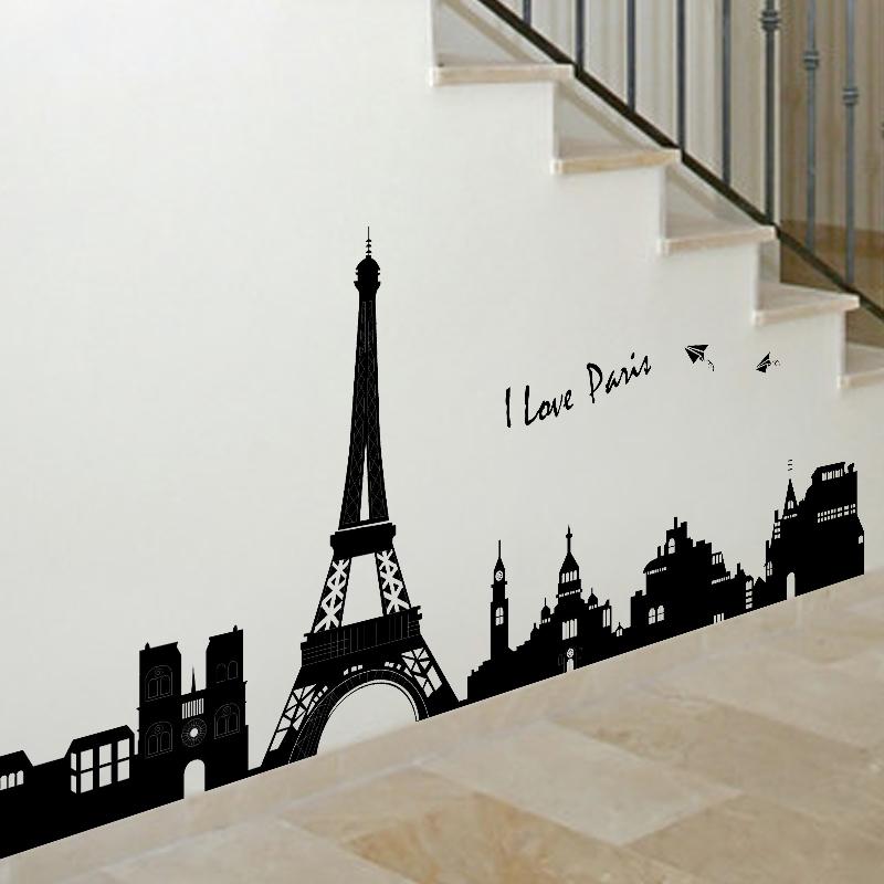 Frete grátis novo 2014 adesivos de parede decoração casa papel de parede decoração do quarto Eu amo Paris Torre Eiffel poster Grande autocolante diy(China (Mainland))