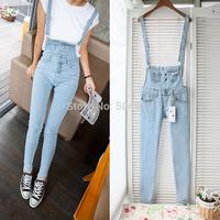 2014 Free shipping Denim jeans bib pants jumpsuit trousers female pencil pants trousers