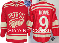 2014 Winter Classic Ice Hockey Jersey Detroit Red Wings #9 Gordie Howe jersey with winter classic  patch on the shoulder+C patch