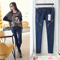 Free shipping 2014 autumn and winter women personality zipper decoration cotton elastic jeans pencil pants 7019