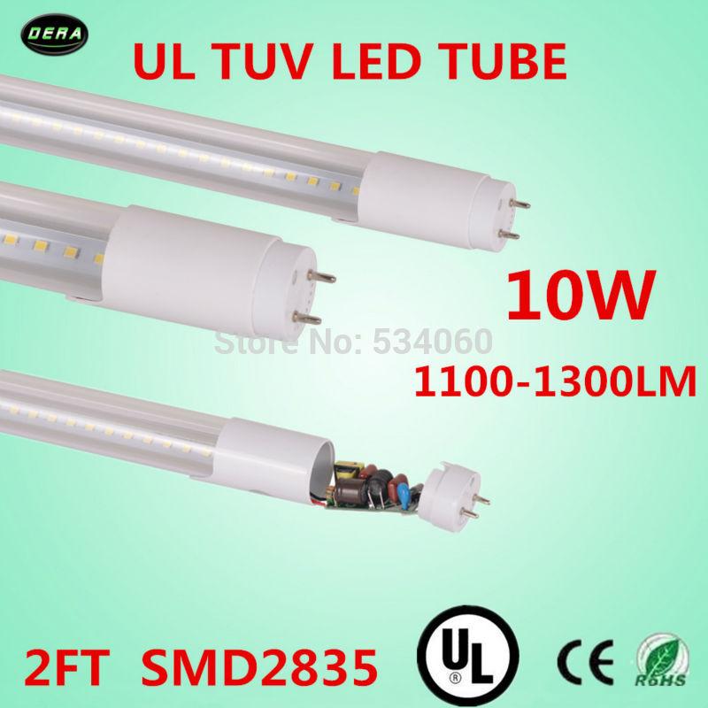 free shiping 60pcs/lot T8 UL led tube 10w UL TUV light 85-265v G13 2ft light bulb 1100-1300lm 600mmT8 ul led fluorescent lamp(China (Mainland))