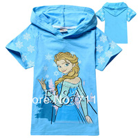 New Fashion 2014 Frozen Summer t shirt Baby Girls hoodies 2-8yrs Child Fashion Brand short sleeve tees tops Girl Cotton Clothes