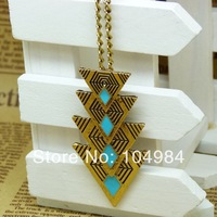 Mixed order $15 At least Hot Selling Fashion Vintage Triangle Oil Long Pendant Necklace N35
