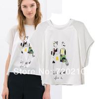 Women's fashion o-neck print digital lilliputian patchwork print t shirt