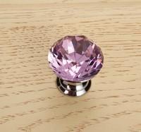 10Pcs/Lot 25mm Diamond Crystal Shape Glass Cupboard Wardrobe Cabinet Door Drawer Knobs Pull HandleS Pink