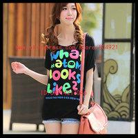 Free shipping High quality  short Batwing sleeve  printing women tee shirt 630-7