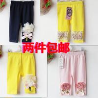 2014 summer female child baby legging 100% cotton modal outside the pants flower