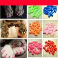 Lots 60pcs Soft Cat Pet Nail Caps Claw Control Paws off Many 14 Colors Size XS S M L