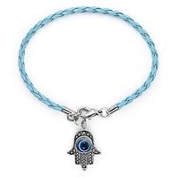 Multi Color Couple Bracelet PU Cord With Hamsa/Fatima Hand Evil Eye Charm Bracelet 10pcs/lot Free Shipping