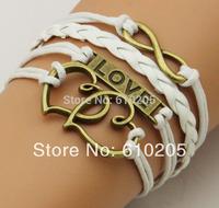 Wholesales fashion bracelets for men Korea Wax Line Infinity Love Double Heart Charms Bracelets for lover