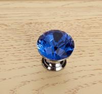 10Pcs/Lot 25mm Crystal Glass Door Knobs Handle Blue Drawer Kitchen + Screw Set