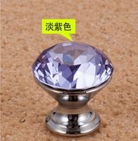 10Pcs/Lot 25mm Crystal Glass Door Knobs Handle Purpel Drawer Kitchen + Screw Set