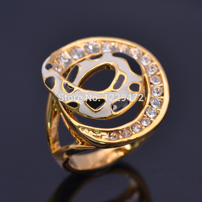 Shiny 24K Real Gold Plated Cow Grain Design Enamel Ring Top Quality Austrian Crystal Ring For Women Wedding Party Gift MJ025(China (Mainland))