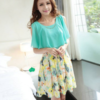 2014 summer new Korean version of women's fashion printed chiffon dress with belt a generation of fat