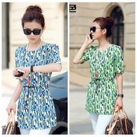 New 2014 Fashion Women Blouses Summer Plus Size Long Shirts Short Sleeve Loose Geometric Chiffon Blouses Shirts