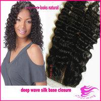 "Deep wave 5"" x 5"" silk base closure,Middle part Malaysian hair closure,Unprocessed virgin human hair silk closure hidden knots"