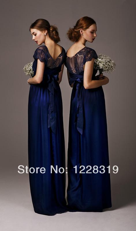2014 novos jovens meninas Coral da dama de honra vestidos de alta Neck uma linha Bow cintura manga curta andar de comprimento Chiffon dama de honra vestidos Hot(China (Mainland))