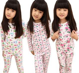 Free shipping 2014 Girls underwear children's underwear bottoming shirt pajamas children underwear suit tracksuit(China (Mainland))