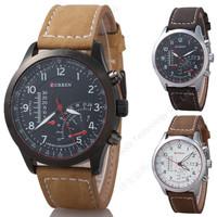 CURREN 8152 Unisex Stylish Quartz Analog Watch with Leather Strap Men and Women Wristwatches (black)