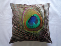 Velvet Digital Printed Peacock Feather Cushion/Pillow Cover