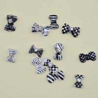 The zebra color Nail art  bows tie  3D nail art  canes  Resin  nail art  box  for nail art Chain  free shipping