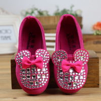 Momo - 2014 Spring New Rhinestone Bow Girls Shoes square mouth loose fit shoes, Minnie Mouse Shoes for girls, Free Shipping