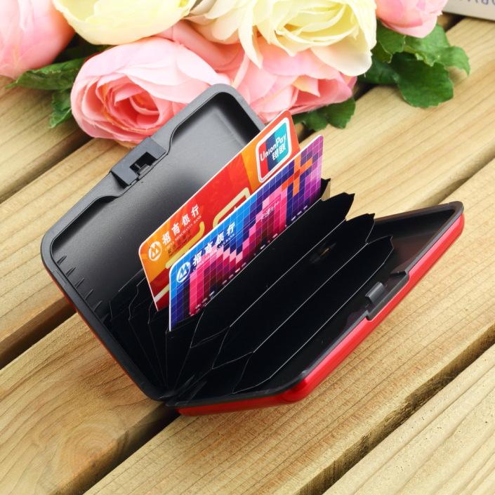 Hot! European and American TV waterproof antimagnetic metal card package aluminum box card case wallet aluma wallet card package(China (Mainland))